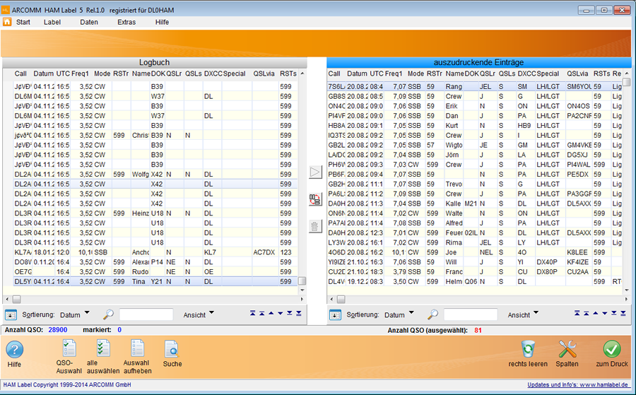Datenauswahl in HAM Label